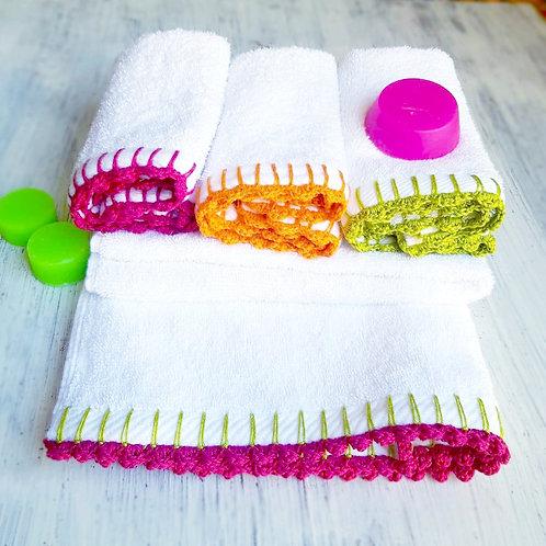 4 Pcs cotton hand towel set -  طقم فوط قطن 4 قطع