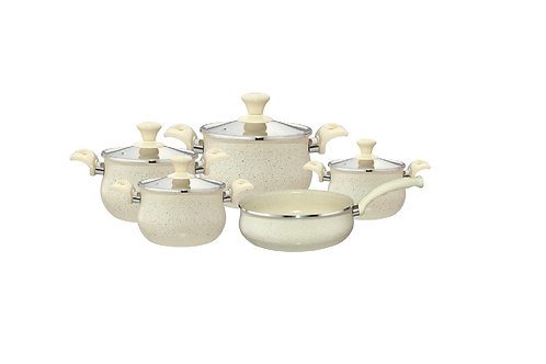 BOMBEE GRANITE COOKWARE SET 9 PCS , Beige  طقم حلل جرانيت 9قطع
