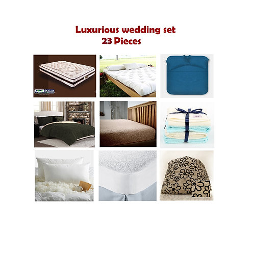 Luxurious Wedding Set 23 Pieces - مجموعة فرش سرير 23 قطعه