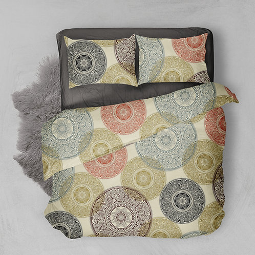 Fitted bed sheet set (Ornate design)-تصميم اورنيت) طقم سرير ملاية بأستيك)