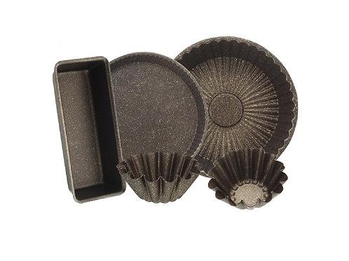 Elite 5-Piece Granite Cake Mold, Black - طقم قوالب كيك جرانيت 5 قطع, أسود