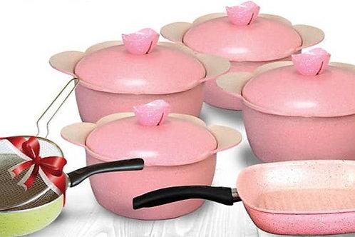 Granite Cooking Set - 9 Pcs - Rose  طقم حلل جرانيت موديل كورى شكل الوردة 9ق لون