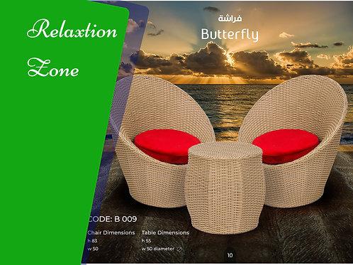 Butterfly set 2 chairs + table طقم فراشة 2 كرسي + تربيزة
