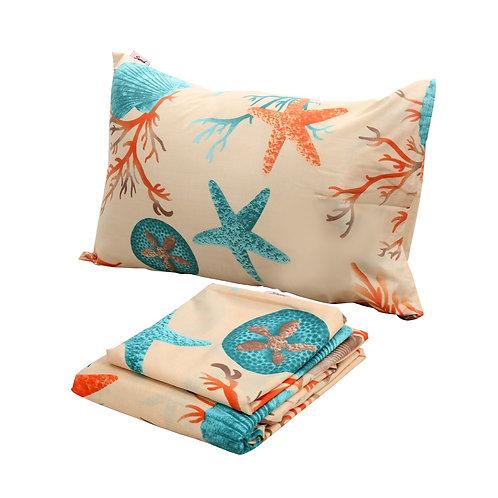Flat bed sheet set (Sea Life design)-تصميم سي لايف) طقم سرير ملاية عادية)