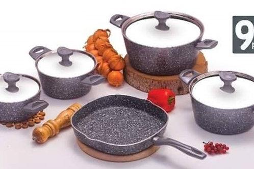 Granite cooking set - 9 pcs - Gray طقم حلل جرانيت