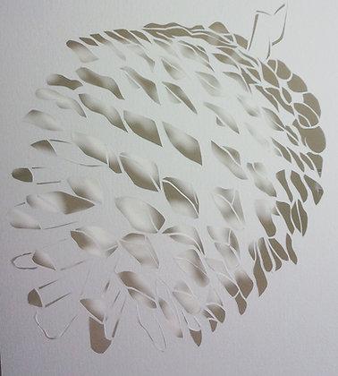 Paper cutting - white pine cone