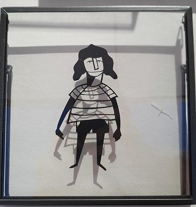 דמות עם שיער שחור- חיתוך נייר ידני  |   Figure with black hair - handmad papercu