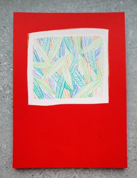 הדפס עלים על נייר אדום  |  Print leaves on red paper