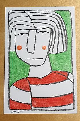 איור מקורי - אישה על רקע ירוק