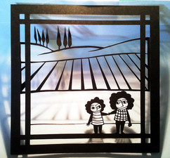 ילדים בשדה חרוש וברושים  |  Children in a plowed field and cypresses
