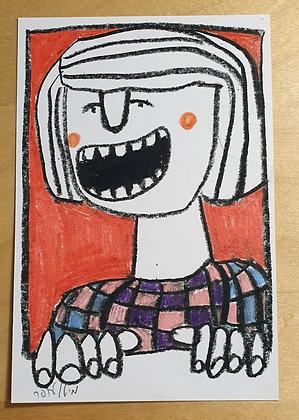 A woman in a window -Original drawing