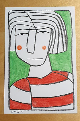 Woman on a green background - original drawing.