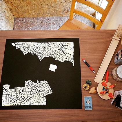 מפה אפשרית של ירושלים - חיתוך נייר בעבודת יד  |  Possible map of Jerusalem - han