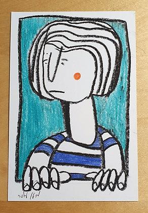 איור מקורי - דמות בחלון, חולצת פסים על רקע תכלת