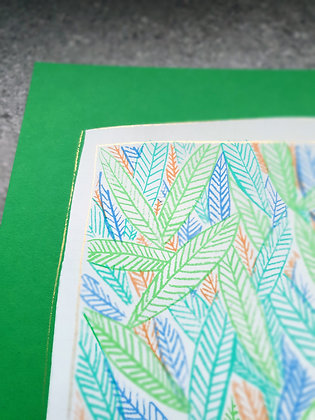 Print leaves on a green background