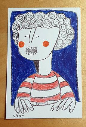 איור מקורי - דמות בחלון על רקע כחול