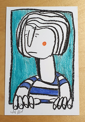 Figure in the window on a light blue background - original drawing