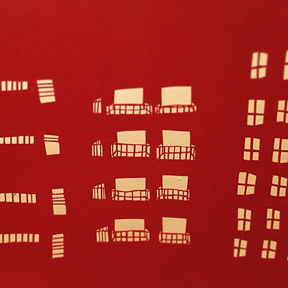 Red City - Handmade paper cutting