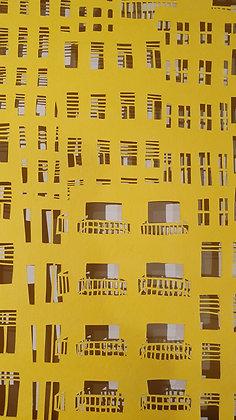 חיתוך נייר בעבודת יד - עיר צהובה