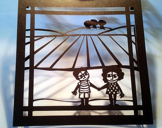 ילדים עם שדה - חיתוך נייר בשתי שכבות
