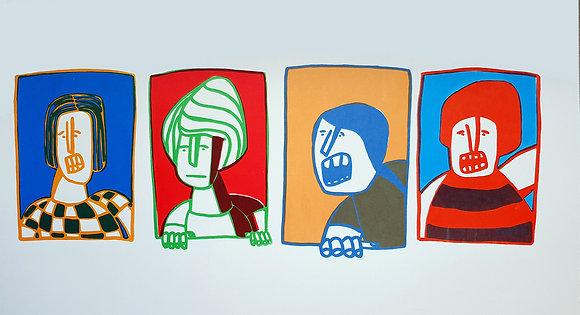 4 דמויות מציצות מהחלון - הדפס רשת