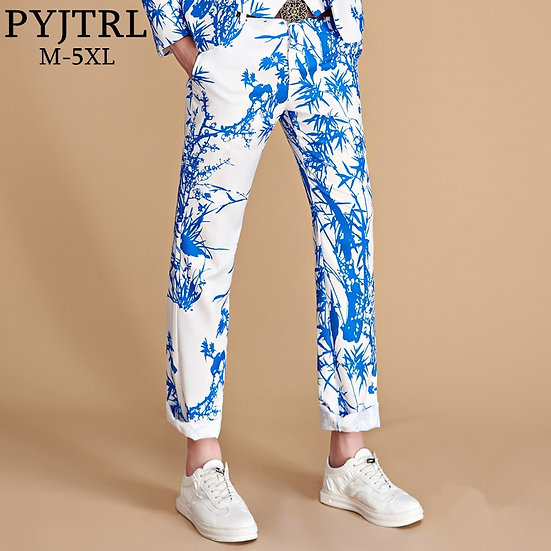 PYJTRL Brand Tide Men Colorful Floral Print Slim Fit Suit Trousers