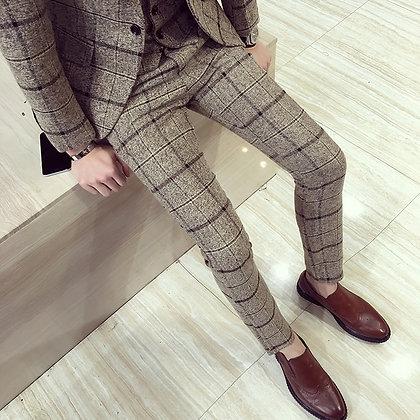 Mens Plaid Slim Fit Dress Pants