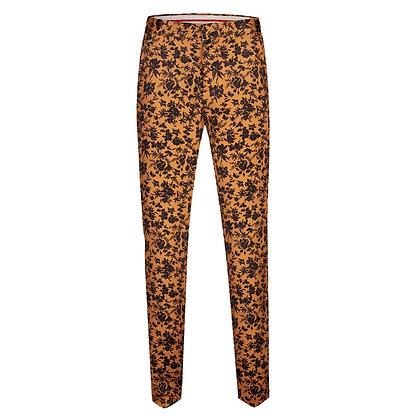 Mens Fashion Vintage Beauty Floral Print Suit Trousers