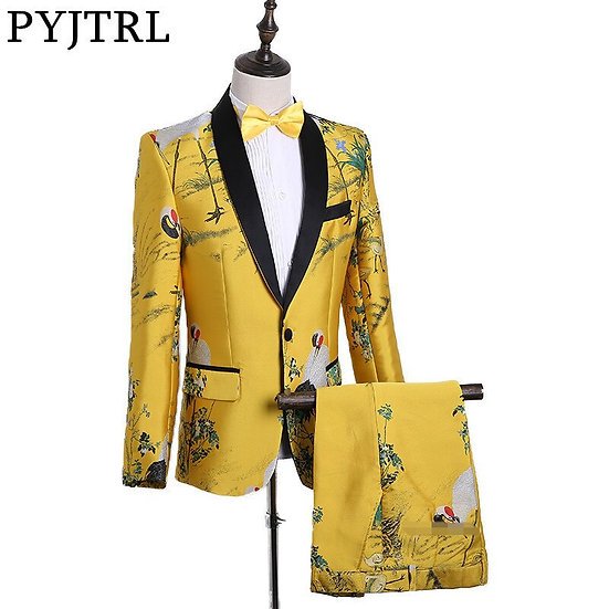 PYJTRL Mens Fashion Chinese Style Yellow Embroidery Dress Suit