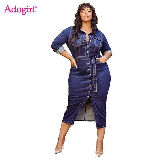 Adogirl XL-4XL Plus Size Women Jeans Dress