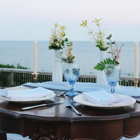 Table for two in blue