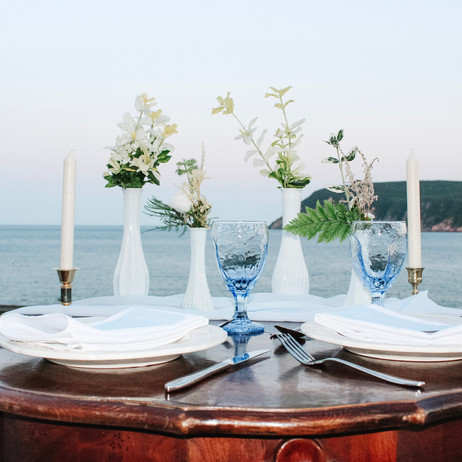 Table set for two in Blue