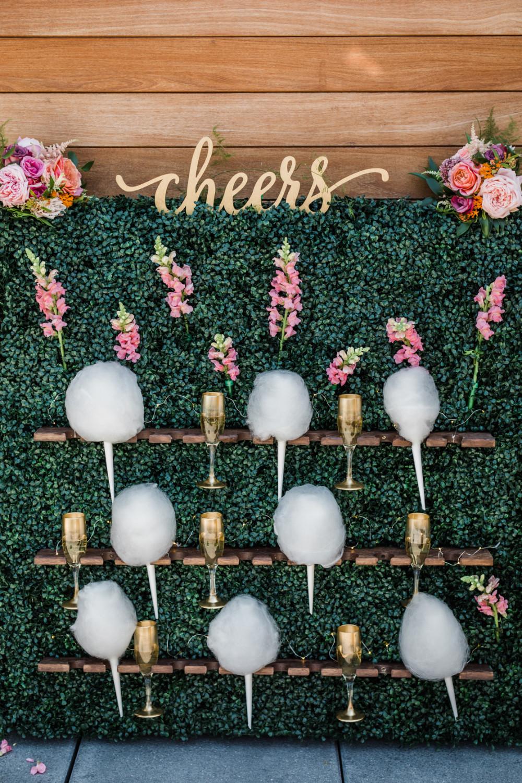 Unique weddin reception favors - cotton candy wall
