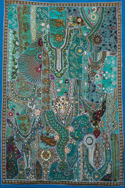 1001 natt Mintgrønn/gylden nr. 207, lite veggteppe ca 100 x 150 cm