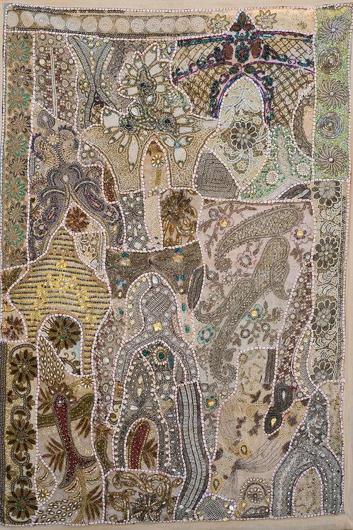 1001 natt Natur/sølv/gull nr. 217, lite veggteppe ca 100 x 150 cm