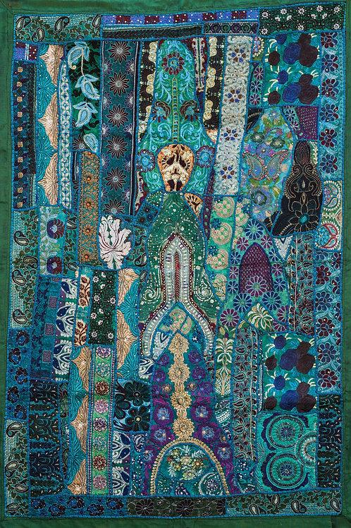 1001 natt Grønn nr. 141, lite veggteppe ca 100 x 150 cm