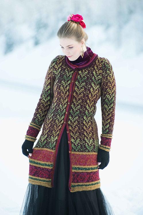 Hillesvåg, Fridas lange rosejakke - innsvinget jakke med mønster