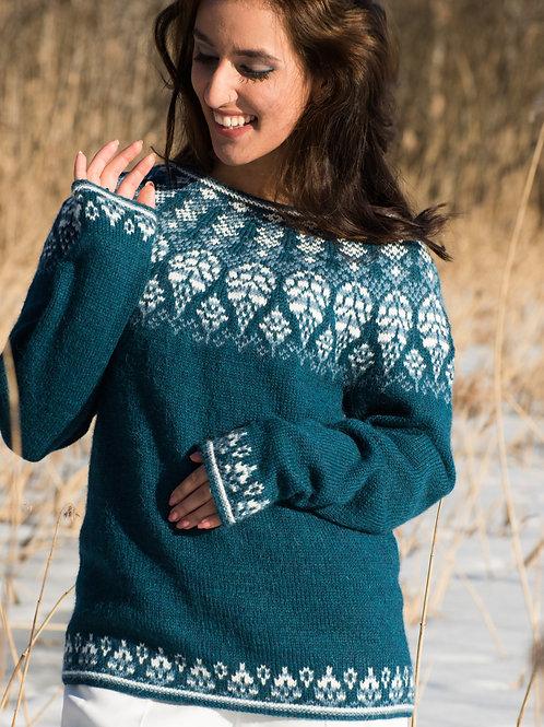FROSTBLADER - delikat genser med rundfelt bærestykke