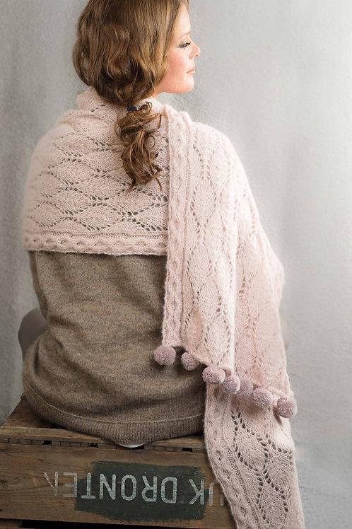 PUDDER - hullstrikket sjal med pomponger,  Faerytale