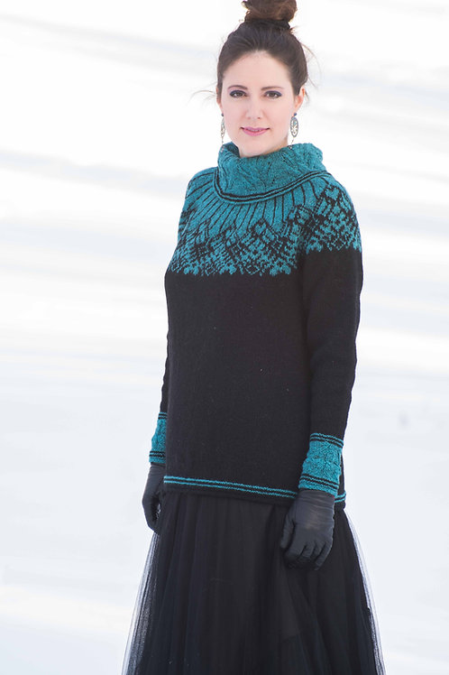 English pattern Hillesvåg, AYAR Sweater with round collar and lace pattern