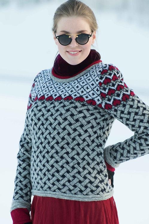 Hillesvåg, Domino - mønsterstrikket genser med isatte ermer