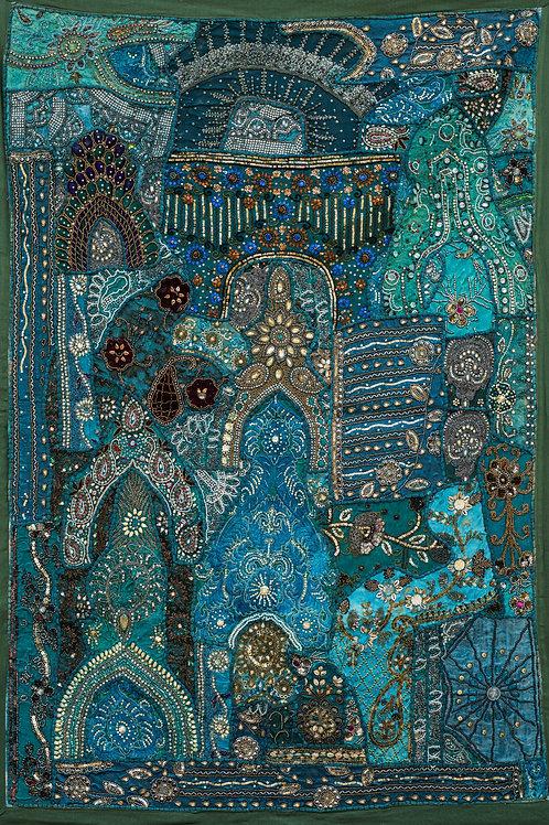 1001 natt Grønn nr. 173, lite veggteppe ca 100 x 150 cm