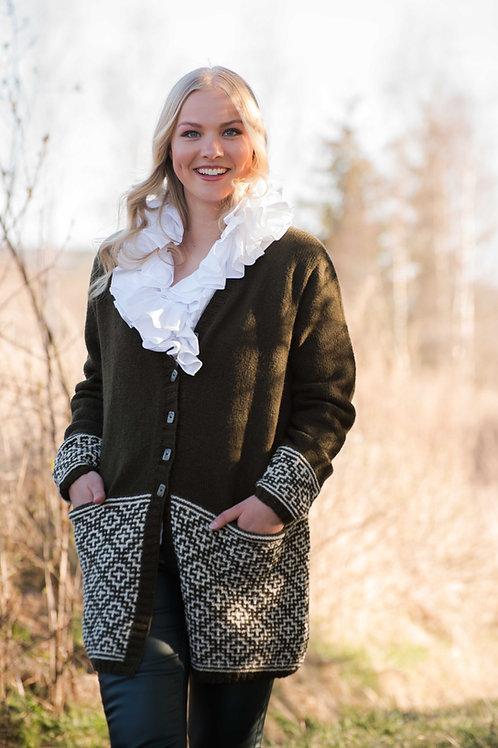 Hillesvåg, KRISSKROSS - lang jakke med lommer i Ask