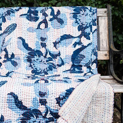 Stor quilt Quilt, Blå fugl ca 260 x 210 cm