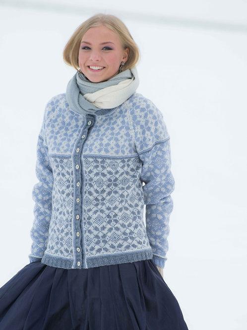 Hillesvåg, Amanda - mønsterstrikket jakke med raglanfelling