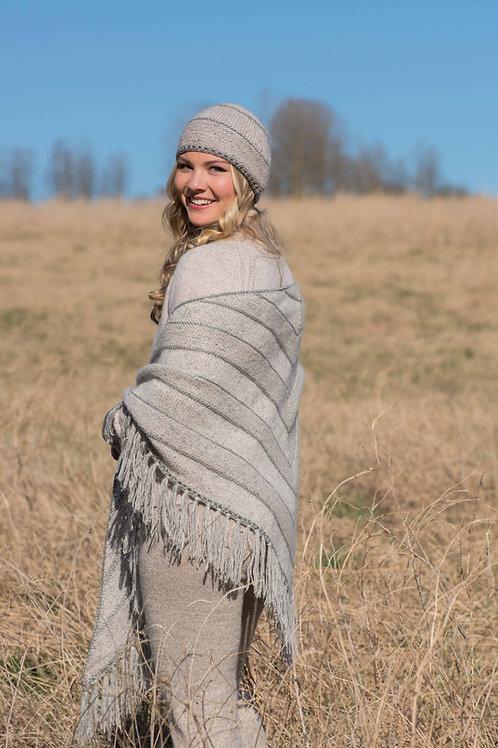 INUITT - lettstrikket sjal, lue og pulsvarmere