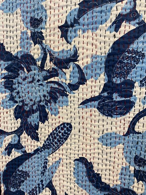 Liten Quilt, Blå fugl ca 150 x 210 cm