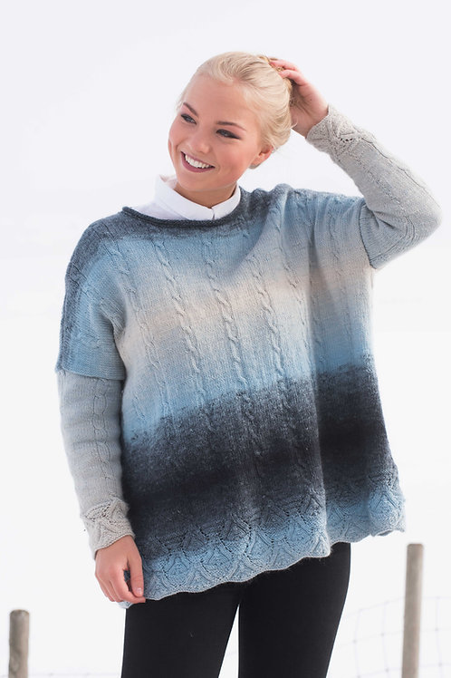 English pattern  E 120 STORM - Wide sweater with Lace pattern and cables