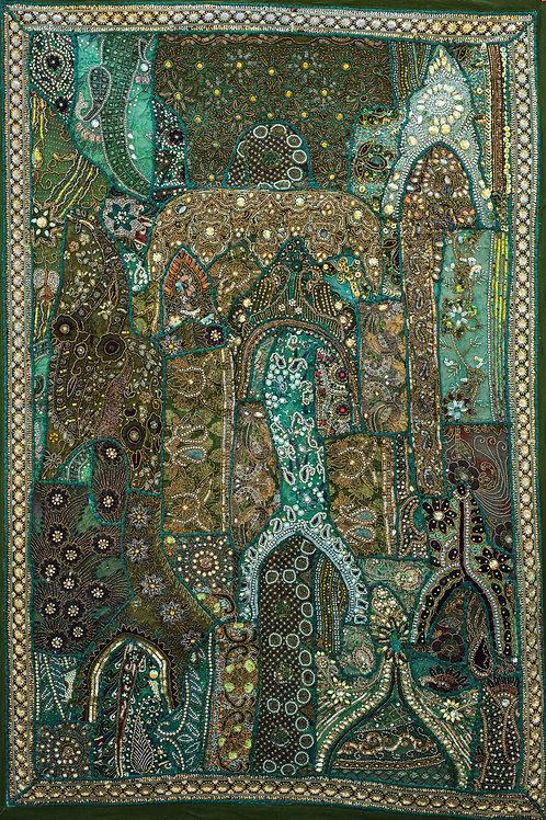1001 natt Grønn nr. 211, lite veggteppe ca 100 x 150 cm