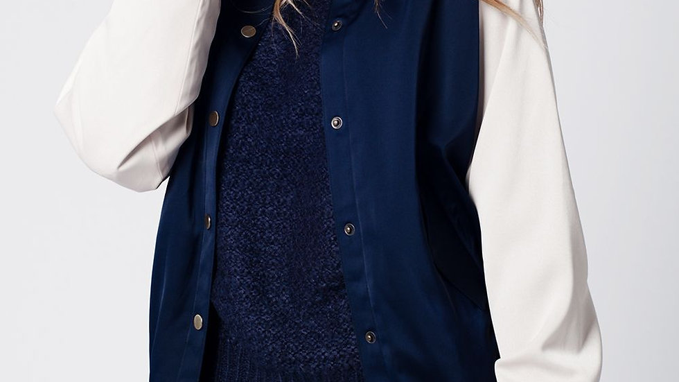 Blue Silky Bomber Jacket